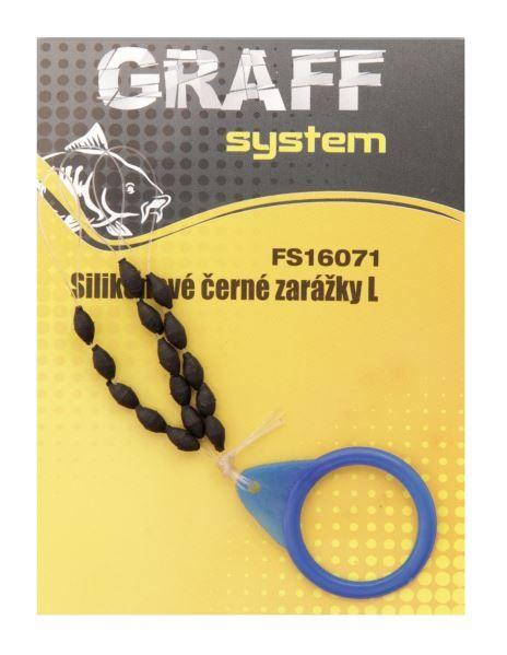Silikonové černé zarážky L Graffishing