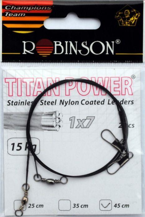 Ocelové lanko Robinson s nylonem 15kg 45cm